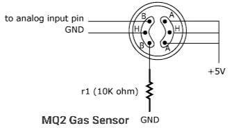 MQ2 gas sensor pinout